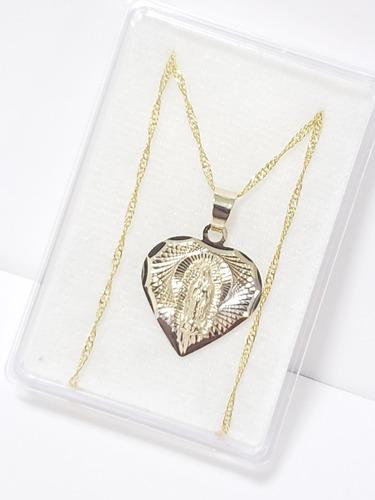 Imagen 1 de 3 de Medalla De Virgen Corazón Oro Lam. 2 Cm +cadena Torsal+envio