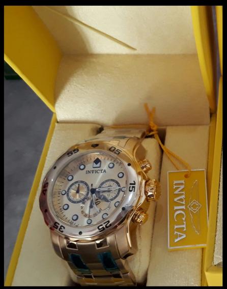 Reloj Invicta Totalmente Original Baña En Oro De 18 Kilates