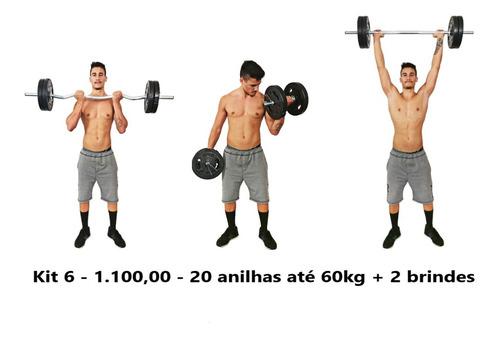 Kit Musculação 2 Barra Halter 40cm + 60kg Anilhas