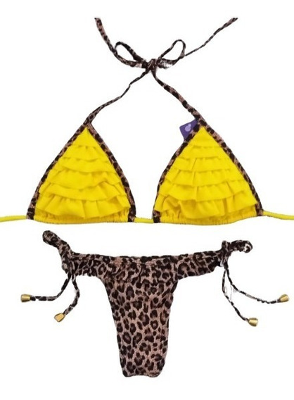 Biquini Babado Oncinha C/ Amarelo