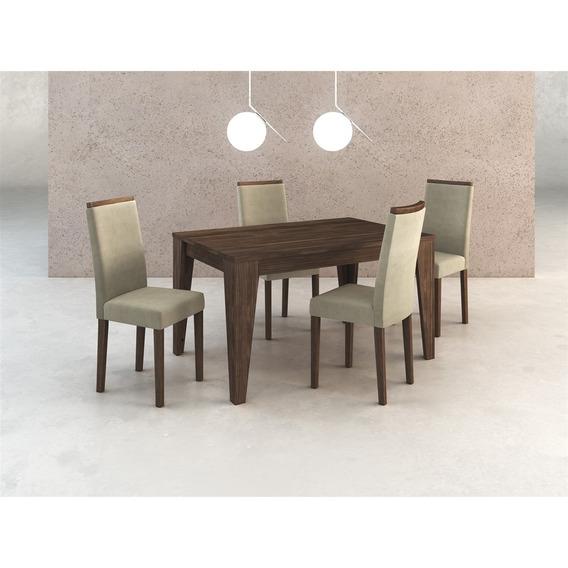 Conjunto De Mesa E 4 Cadeiras Nogal Cj1000 Casa Da Mobília