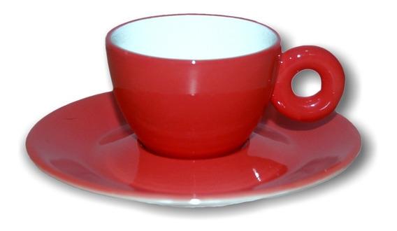 Xícara Para Café Com Píres Em Porcelana Rainbow 110ml Kenya Vermelho Claro
