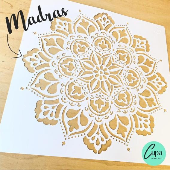 Stencil Mandala Madras 50x50 Pared Tela Piso Muebles Deco