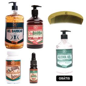 Kit Barba E Cabelo Cosméticos Barbeiros Grátis 1 Álcool Gel