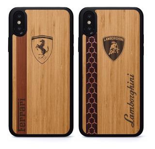 Funda Ferrari Lamborghini iPhone 6 7 8 X S Plus Case Madera