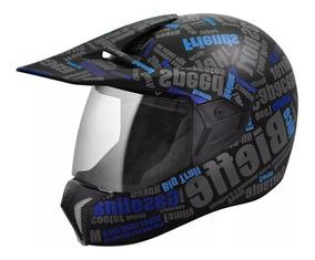 Capacete Bieffe 3 Sport Mirror Cross Enduro Preto Fosco Azul