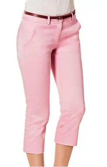 Pantalón 76899 Rosa Azul 76901corto Capri Con Cinturón