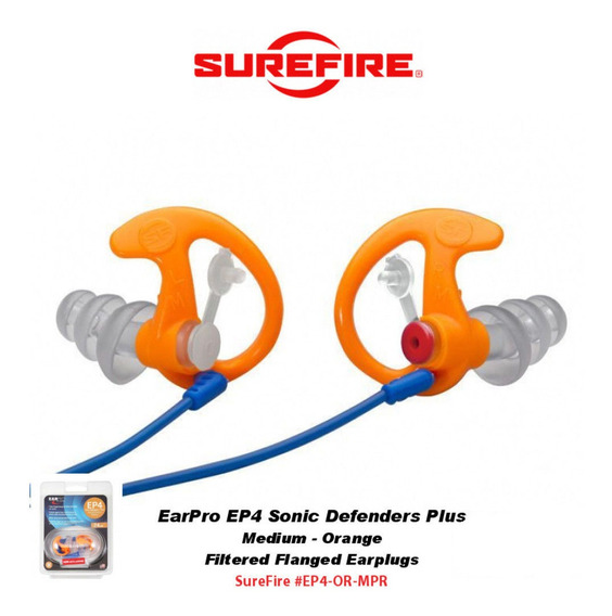 Plugue Auricular Surefire Ep5 Sonic Defender Tam M Laranja