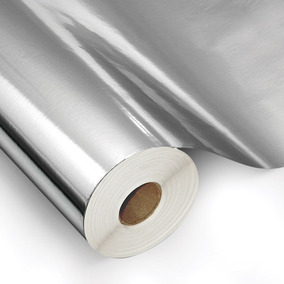Papel Adesivo Contact Metalizado Espelhado Inox 45cm X 10m