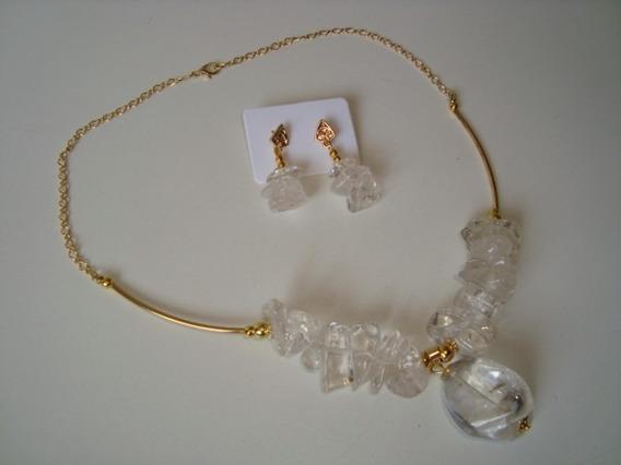 Colar Dourado Cascalho Pedra Cristal Natural C/ Brincos 2