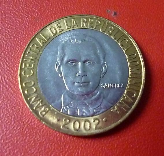 Republica Dominicana Bimetalica Sanchez 5 Pesos 2002