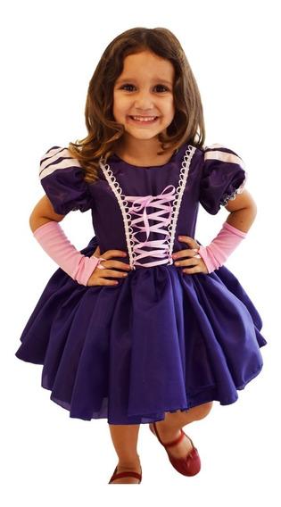 Vestido Festa Aniversário Fantasia Princesa Rapunzel + Luva