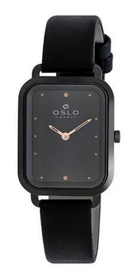 Relógio Feminino Slim Quadrado Preto Com Rose De Couro + Nf