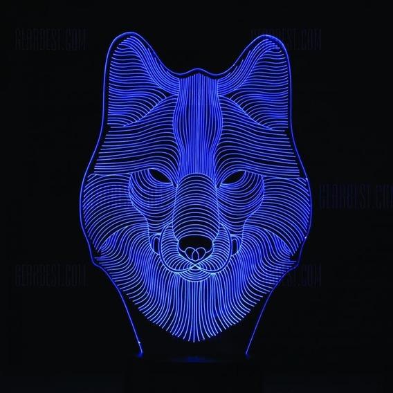 Proyecto Vector Corte Láser Wolf Lobo Lampara Led Acrilico