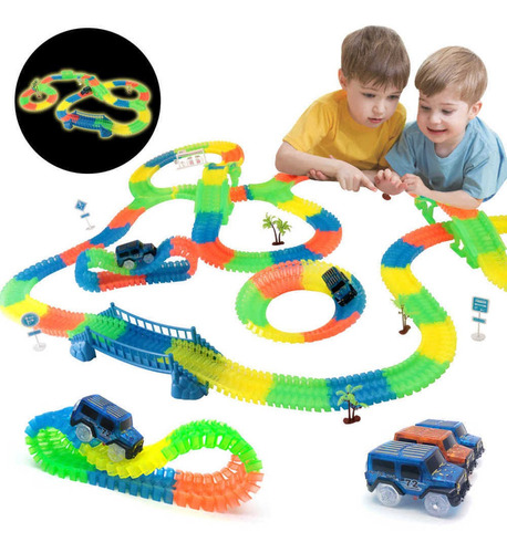 Autopista Mágica Flexible Luminosa 220 Set Juguete Niños