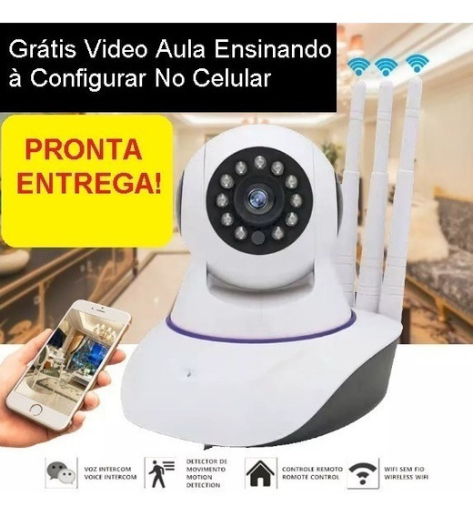 Camera Ip Imagem Hd Wifi Onvif Babá Alarme - 3 Antenas