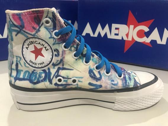 Zapatillas Botitas De Lona Estampadas Americanas * Love *