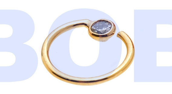 Piercing Argola Banhado A Ouro C Pedra De Zircônia Diâm. 8mm