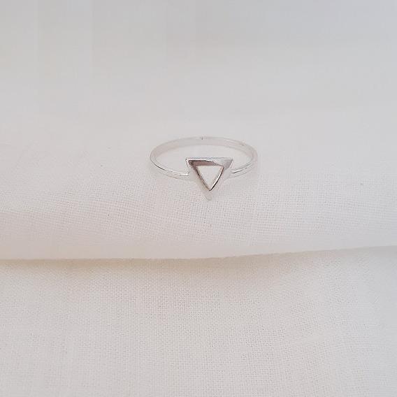 Anel Triângulo P Minimalista Prata De Lei 925 Genuína Berlim