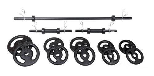 Imagem 1 de 6 de Kit Completo Musculação Fitness Barras 50kg Anilhas Presilha