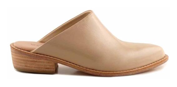 Zueco Cuero Mujer Briganti Zapato Charol Taco Mcsu48029 Ch