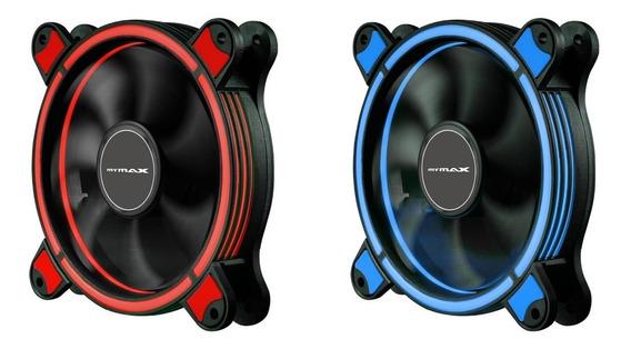 Kit 3 Cooler Fan Gabinete Pc 120mm 22 Led Ring Anel Arco Argola Gamer Vermelho Azul Barato Similar Dex Bluecase K754y
