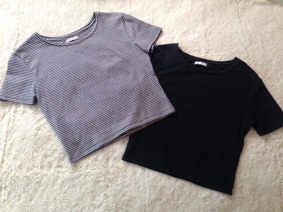 Crop Top Básico Blanco Con Negro Marca Zara