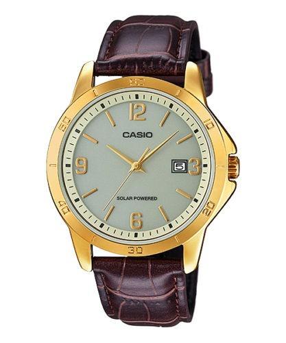 Relógio Casio Mtp-vs02gl-9a Pulseira De Couro Solar Powered