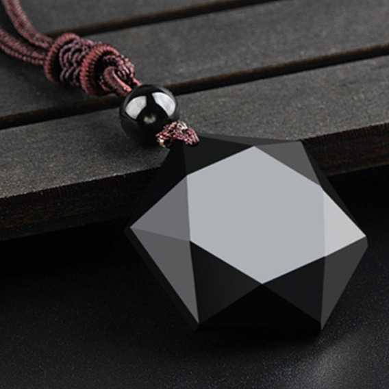 Colar Masculino Hexagrama Estrela Obsidiana Negra + Brinde