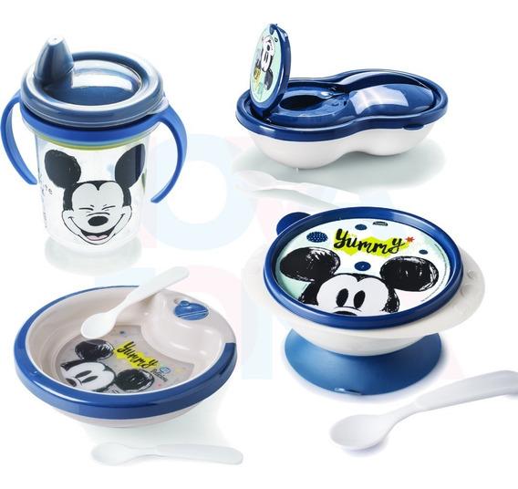 Kit 01copo +01tigela+01prato Térmico+01 Pote C/colher Mickey