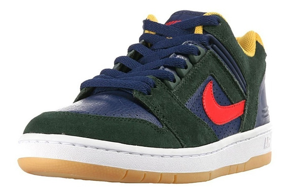 Zapatillas Nike Sb Air Force Ii Low 364 Verde Azul Amarillo