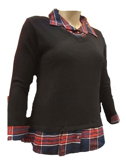 Sweater Lanilla Falsa Camisa Talles Especiales