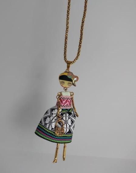 Collar Mujer Dije Muñeca Muñequita Bisuteria Fina Joyeria