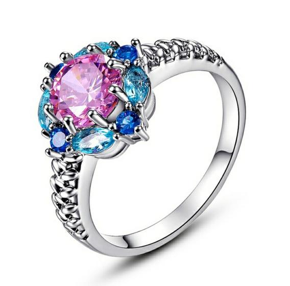 Anel Aliaça Compromisso Pink & Blue Topaz & Sapphire