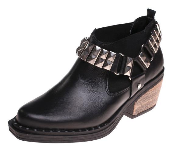 Zapato Anca Dama Texano Negro