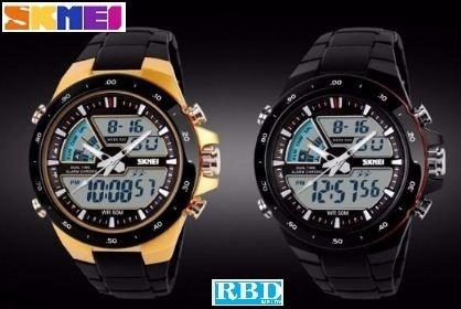 Relógio Skimei Esportivo Preto (3) E Dourado (3) - Mod 1016
