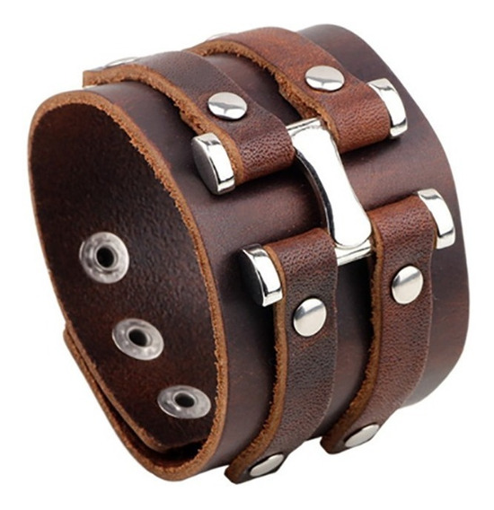 Bracelete Couro Acessorios Masculino Punk Rock Original