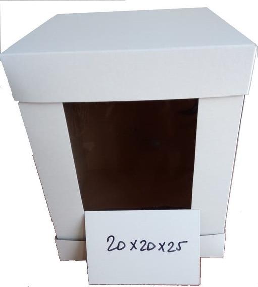 Cajas Para Pasteles Altos Suajadas Con Mirilla 20*20*25cm