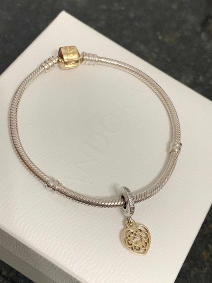 Bracelete Pandora Original Fecho Em Ouro 14k + Charm C/ Ouro