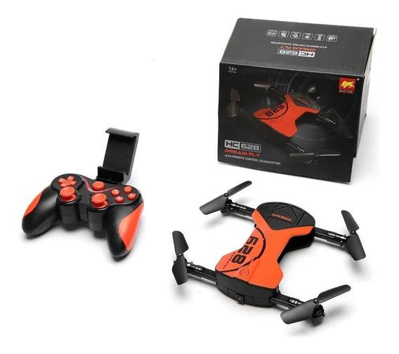 Drone Quadricoptero Câmera Fpv Ao Vivo Dobrável Hc628 Wifi