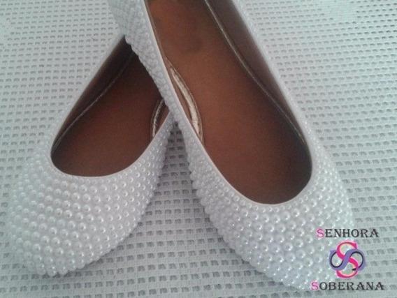 Sapatilha Branca Em Perolas M Fechada (noivas)(debutante)