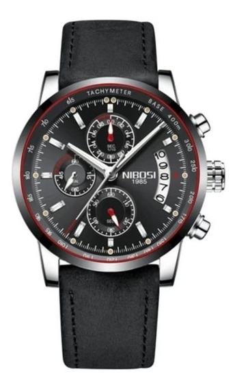 Relógio Masculino Nibosi 2327-2 Original Couro Preto
