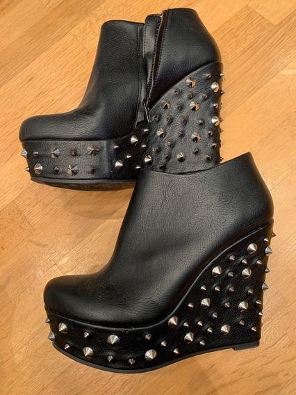 Botas Zapatos Noche Tachas Mujer Cuero Negro Urban Outfitter