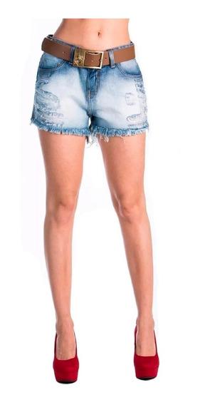 Short Boyfriend Zoe Jeans Com Cinto Destroyed