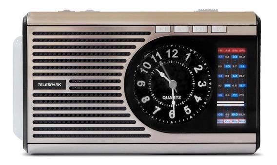 Rádio Portátil Mp3 Telespark Clock Cinza