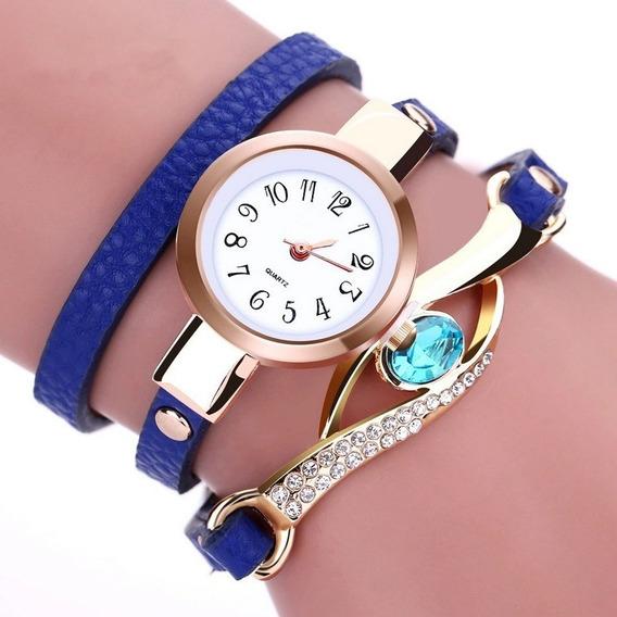 Reloj Pulsera Brazalete Moda Dama Mujer Colores Zafiro S