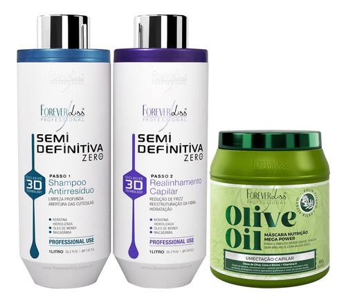 Kit Forever Liss Progressiva 3d Mascara Nutrição Olive Oil