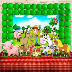 Kit Aniversário Festa Infantil Fazendinha Cenários Kit Ouro
