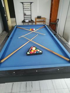 Mesa De Billar! Paño Color Azul Como Nueva! Pool Y Carambola