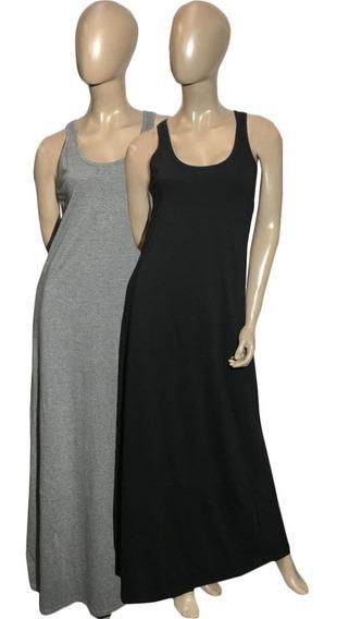 Vestido Musculosa Maxi (art 019) Negro Liso Y Gris. Jersey De Algodón - Somos Fabricantes Del 1 Al 7